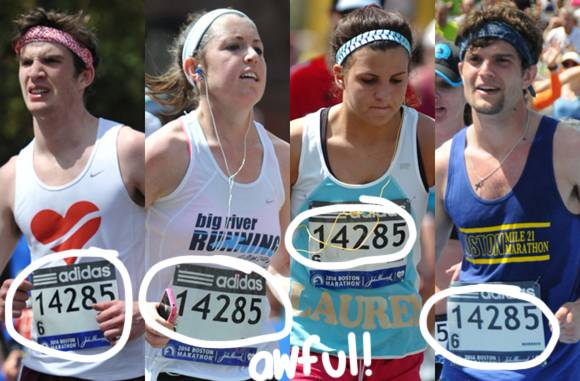 Boston Marathon bib bandits who all ran with the same number. Photo credit: Fit Perez.