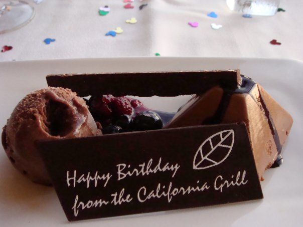 Birthday dessert at California Grill