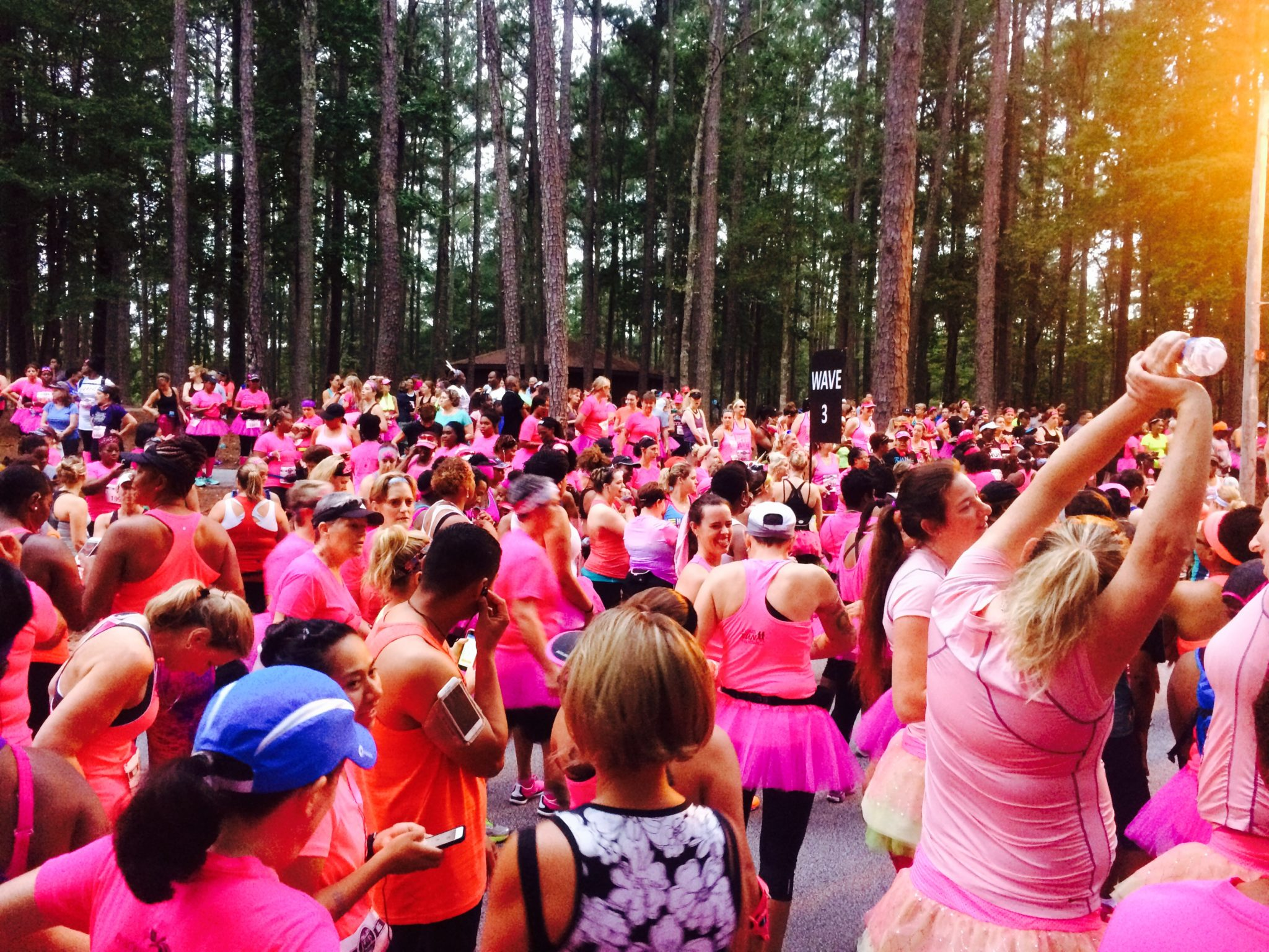 The starting line waiting area was a sea of pink!
