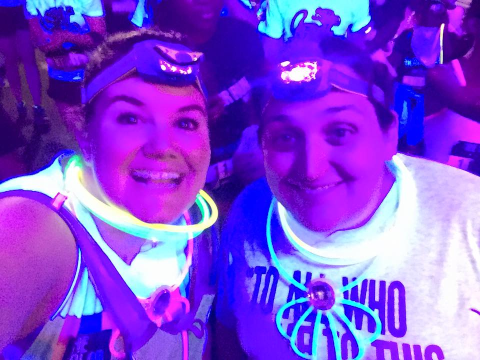 My friend Amy (right) and her friend, Christine at the nighttime Color Run. Photo used with permission,