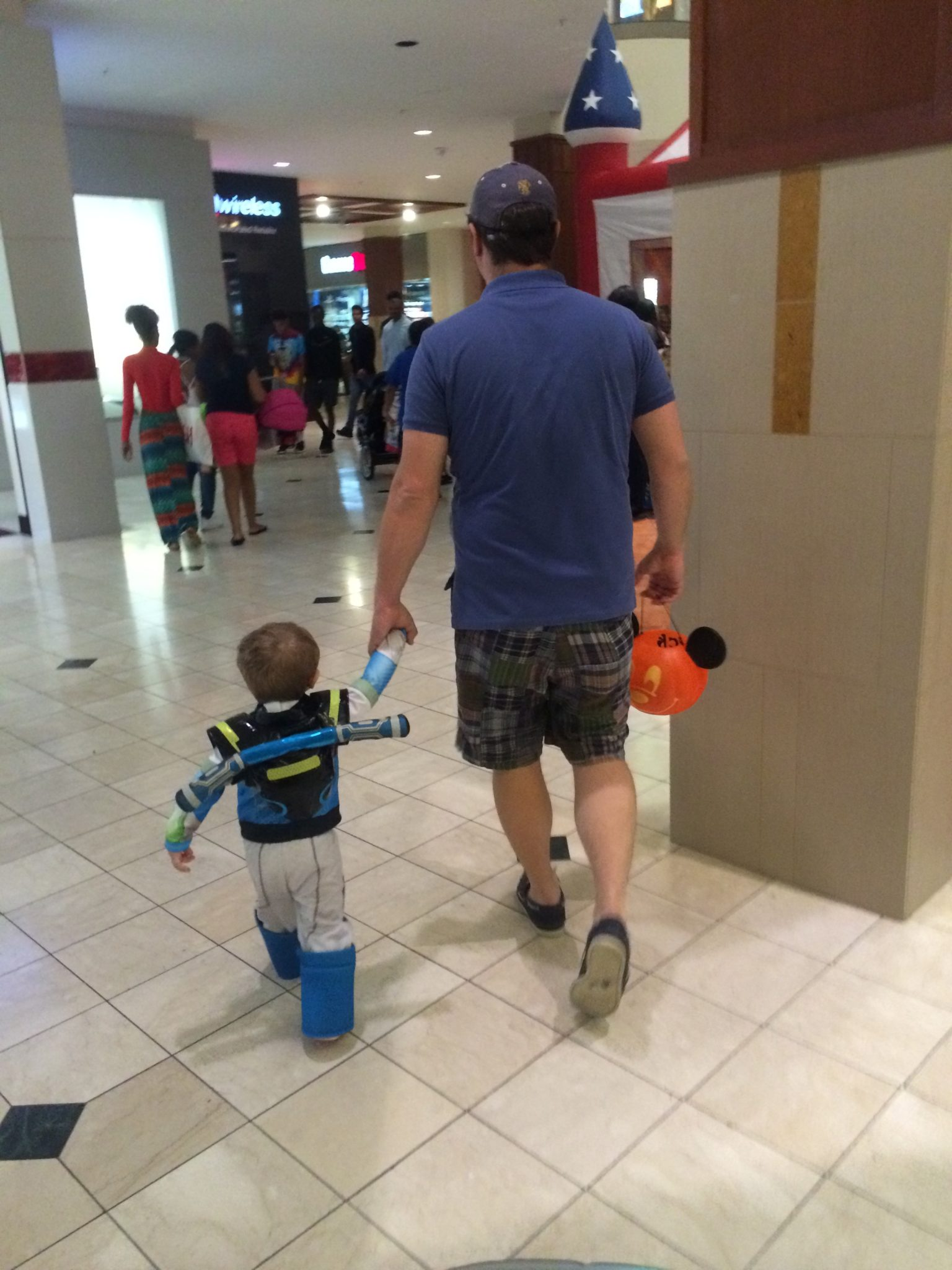 Trick or Treating with Daddy at the mall.