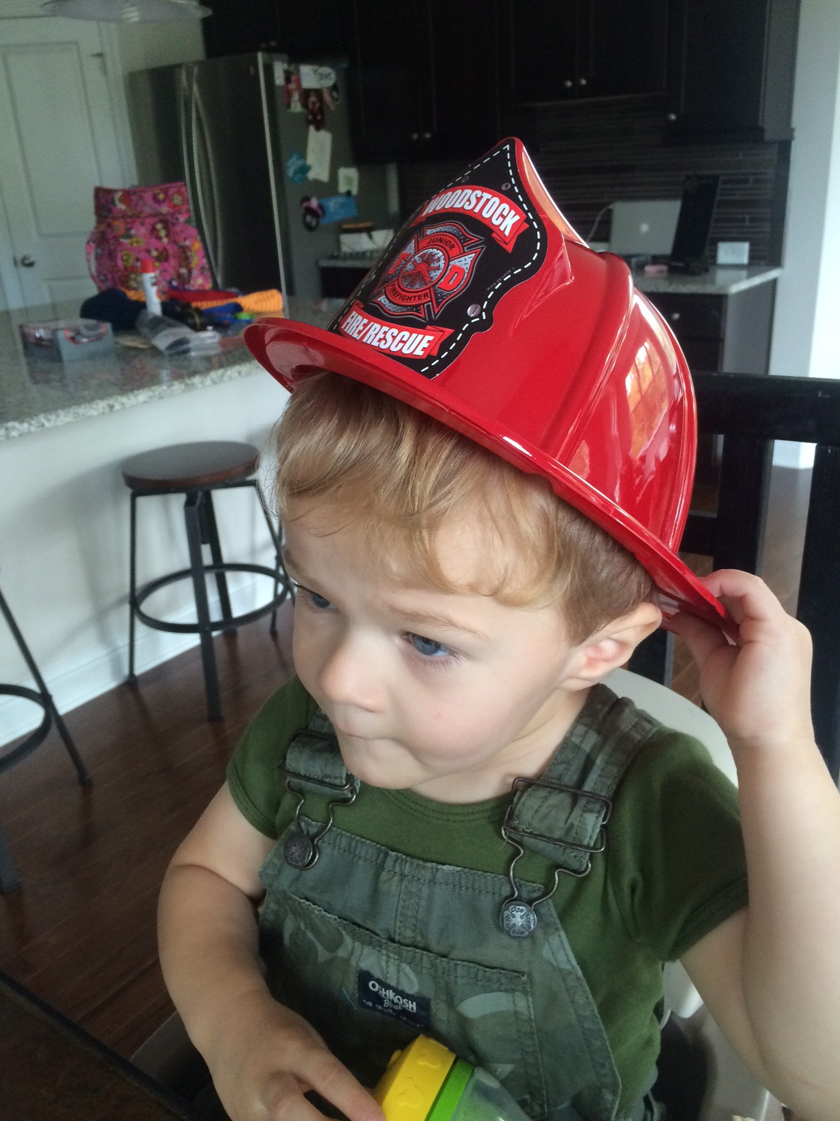 Clearly, he was impressed by our local fire department!