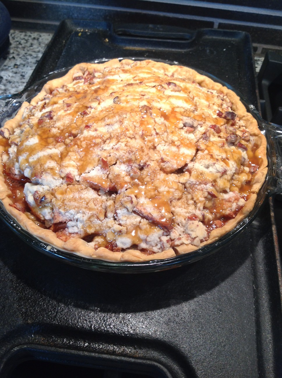My famous apple pie with a crumble top.