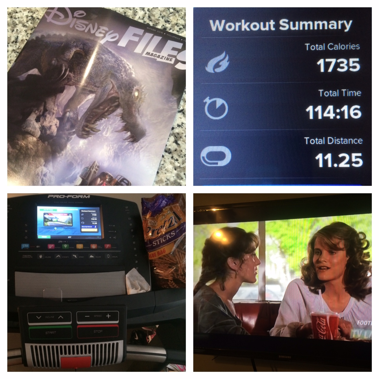Keys to a long treadmill run: a good movie (Footloose) and back up entertainment, like a magazine.
