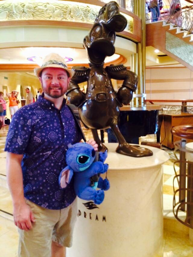 My husband on the Disney Dream ship. He packed Stitch!