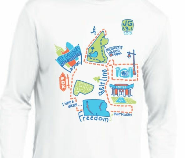 Loved how the race shirt featured Atlanta landmarks!