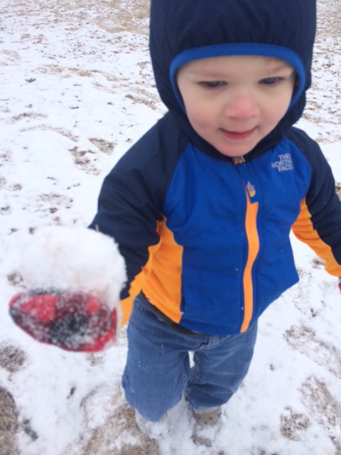 JP loved making snowballs!
