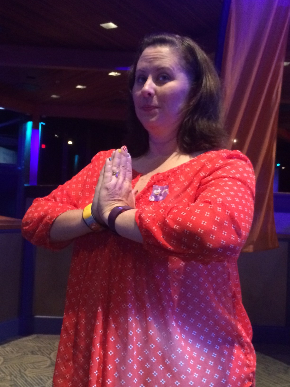 Patty from, No Guilt Life, practicing her tree pose.