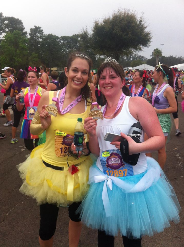 My first half marathon: Princess Half 2013. I ran as Belle and my friend ran as Cinderella!