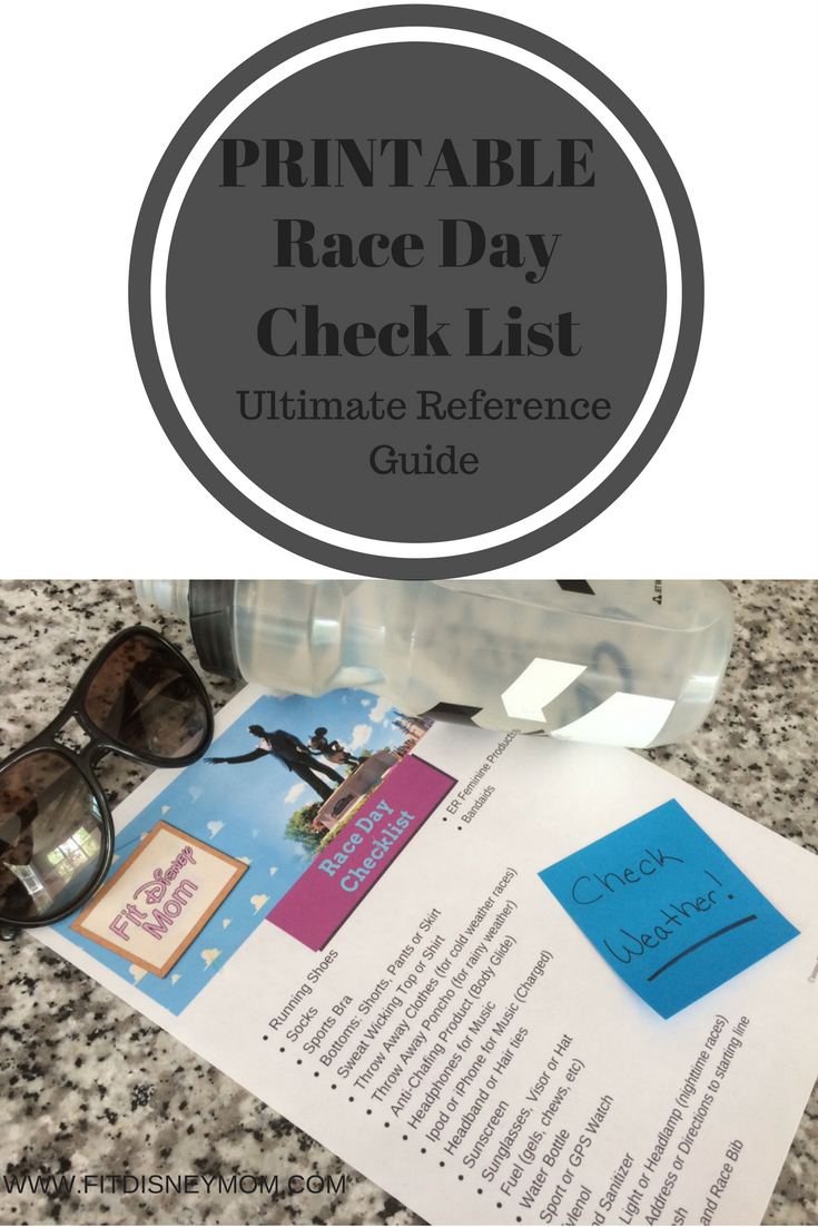 Printable Race Day Checklist