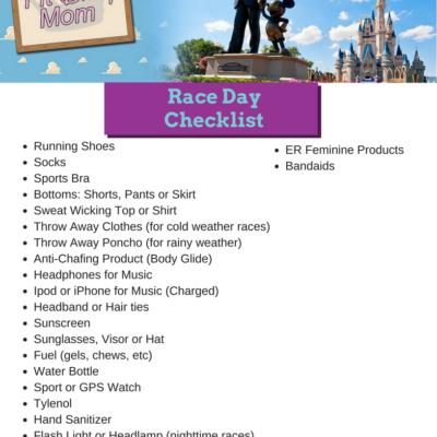 Printable Race Day Checklist