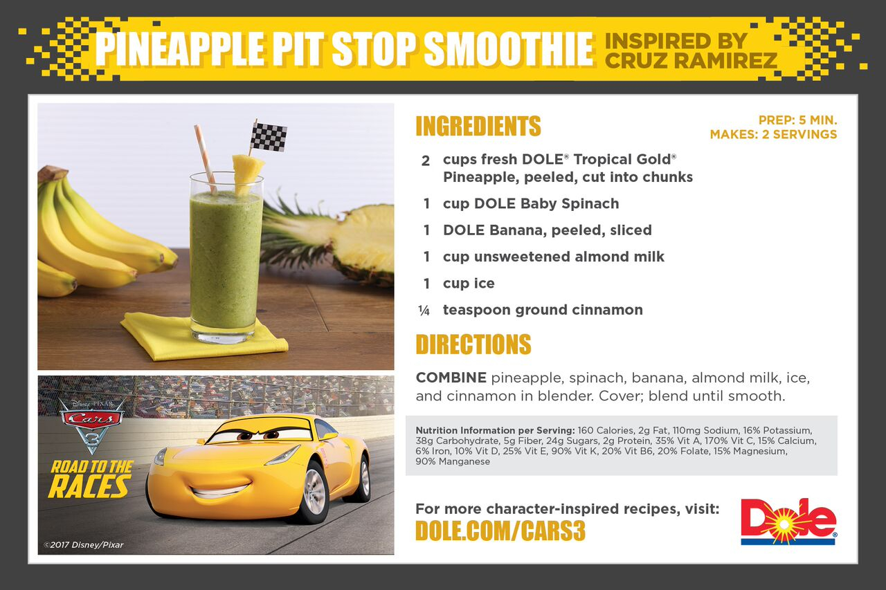 Dole Cars 3 Smoothie Recipe, Dole, Cars 3
