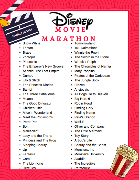 Disney Movie Marathon List, Printable Disney Movie Marathon List, Free Disney Bucket List, Printable Disney Movie List