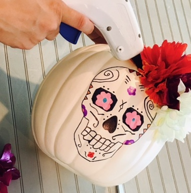 Sugar Skull Pumpkin Craft, Sugar Skull Craft, Disney Blogger, COCO movie crafts, halloween crafts, dia de los muertos craft