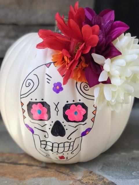 Sugar Skull Pumpkin, Sugar Skull Pumpkin Craft, Sugar Skull Craft, Sugar Skulls, Disney Blogger, Disney Pixar COCO, COCO Craft