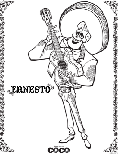 COCO coloring sheets, coco movie, Disney Pixar, day of the dead coloring sheets