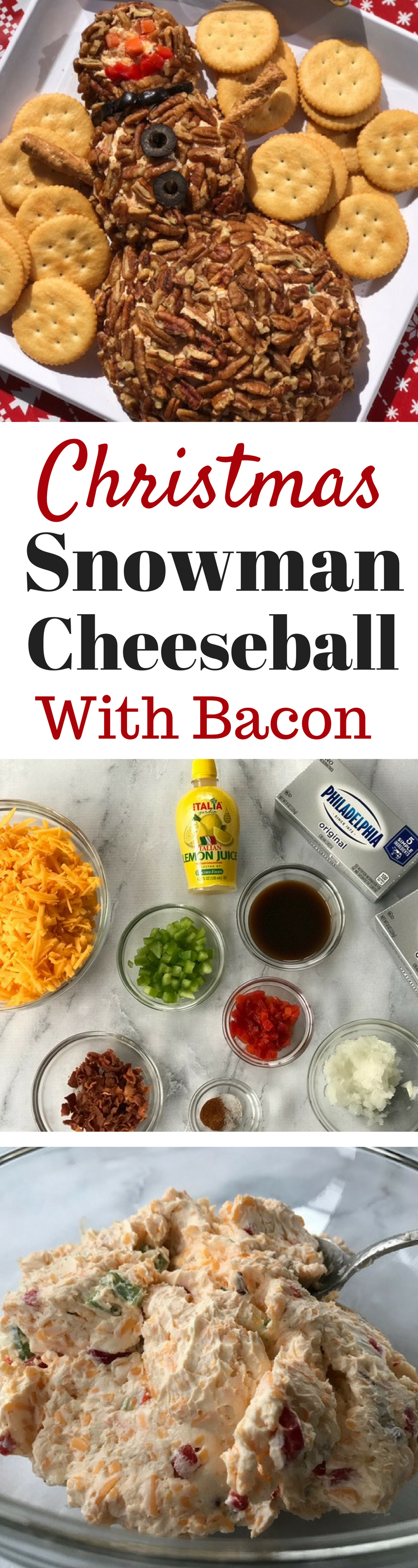 Christmas Cheese Ball.Christmas Snowman Bacon Cheeseball
