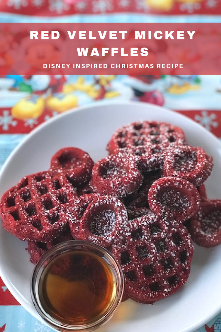 Red Velvet Mickey Waffles, Copycat Red Velvet Mickey Waffles, Disney Inspired Recipe, Breakfast Mickey Waffles, Mickey Waffles
