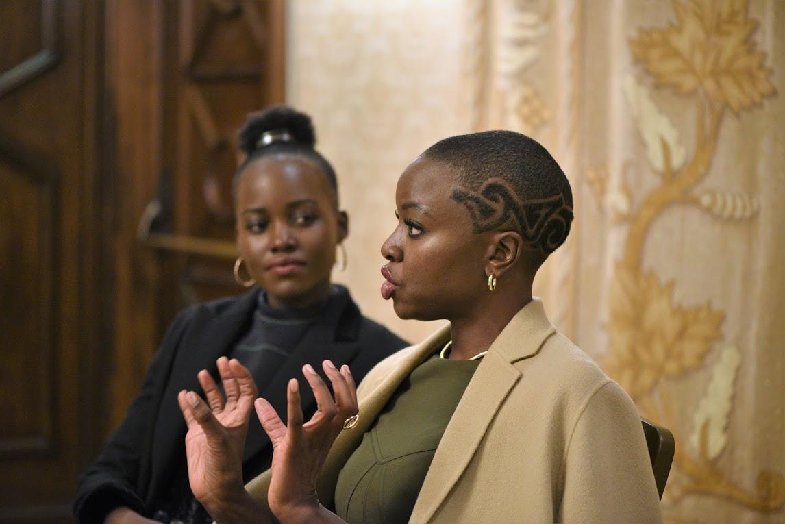 Lupita Nyong'o and Danai Gurira, Female Cast of Black Panther, Lupita and Danai Black Panther Interviews, Black Panther