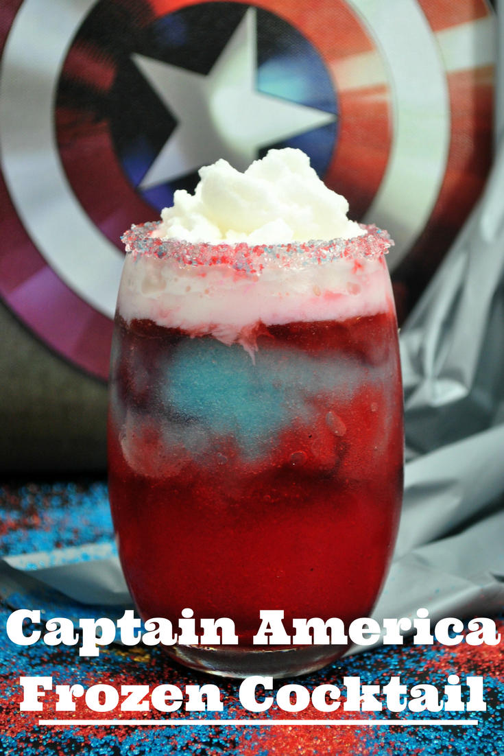 This Captain America Cocktail recipe is the perfect for an Avengers party and an awesome way to celebrate the new Avengers: Infinity War. #Avengers #Marvel