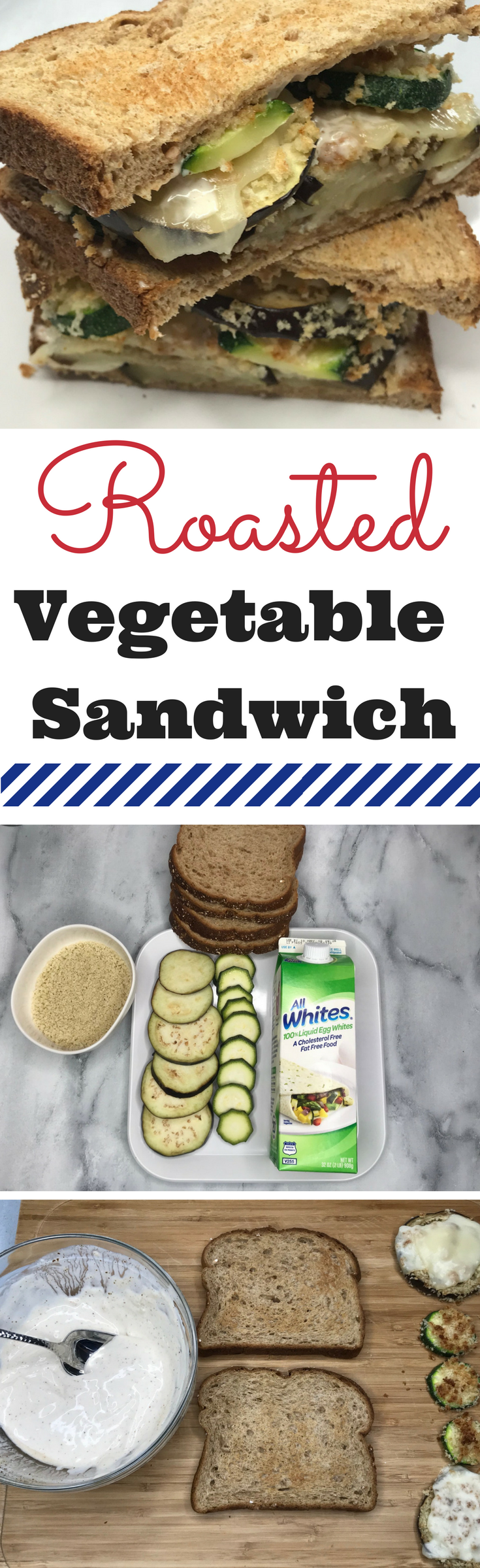 This easy roasted vegetable sandwich is a secret high protein source recipe because of the egg whites! It's the perfect lunch recipe and healthy. #Ad #AllWhitesEggs